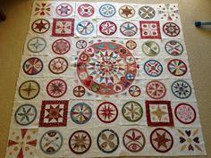 beautiful circular blocks on this quilt