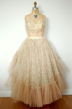 lace tulle vintage gown
