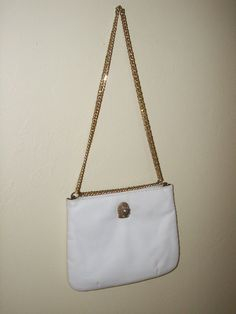 SOLD  Vintage 1970's Ruth E Saltz White Leather by EcoBeachDesigns