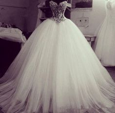 Charming Crystal White Ball Gowns 2015 Wedding Dresses Sweetheart Beaded Princess Tulle Sweep Train Bling Wedding Gown Custom Made Poofy Wedding Dress, Princess Wedding Dresses, Dream Wedding Dresses, Wedding Gowns, Bling Wedding, Prom Dress, Strapless Dress, Quince Dresses, Quinceanera Dresses