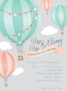 So charming! Hearts will lift in such delight at the sight of these hot air balloon baby shower invitations. #hotairballoon #babyshower #invitationsbydawn