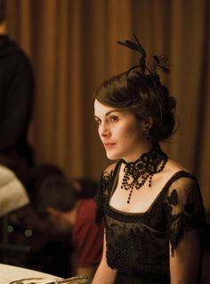 Michelle Dockery as Lady Mary Crawley on the set of Downton Abbey (TV Series, 2010).