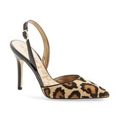 """Sam Edelman 'Dora' Pointy Toe Slingback Pump, 4"""" heel ($112) ❤ liked on Polyvore featuring shoes, pumps, slingback pumps, wide shoes, high heel pumps, synthetic leather shoes and leather pumps"""