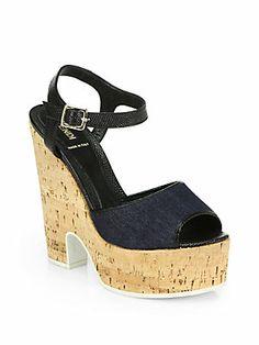 Fendi Cecilia Denim Cork Wedge Sandals $640 s