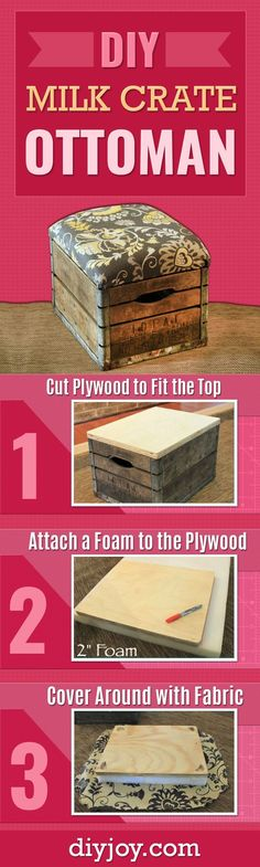 DIY Milk Crate Ottoman - Best DIY Home Decor Ideas for Easy Furniture - Cool Living Room Ideas You Can Make At Home - DIY Seating and Chairs - Cheap DYI Projects and Crafts on A Budget
