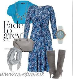 Blue Knit Dress #styleset  http://cozediroze.ie/index.php/product/new-blue-floral-knit-dress/