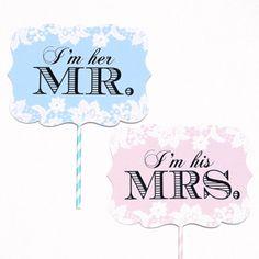 フォトプロップス<br>【MR & MRS/pink × blue】