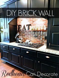DIY Brick Backsplash - Redhead Can Decorate