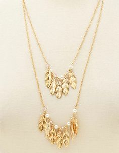Bead & Feather Layered Necklace: Charlotte Russe
