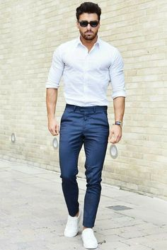navy pants and white shirt outfit for men