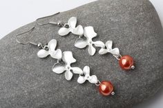 Coral pearl earrings silver orchid Bridesmaid earrings coral wedding jewelry triple orchid earrings Bridesmaid gift, coral orchid earrings by CharmanteBijoux on Etsy
