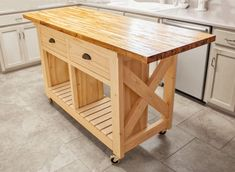 Kitchen Islands Kitchen Do It Yourself Natural Wooden Butcher Block Island With Double Drawers And Shelves On Creamy Tile Floor Design Custom Islands Plus Table Encharting Storage butcher block kitchen island table Kitchen Island With Butcher Block Top, Kitchen Island With Drawers, Mobile Kitchen Island, Kitchen Island Storage, Rolling Kitchen Island, Farmhouse Kitchen Island, Kitchen Island Table, Modern Kitchen Island, Kitchen Island With Seating