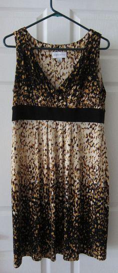 Ronni Nicole Dress 10 Sleeveless Brown Black V-Neck Empire Waist Polyester #RonniNicole #EmpireWaist #CareerDressy