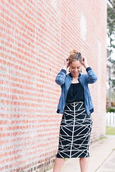f768f5d3a8bf Really like this skirt and the midi length. can t wear denim at the office.
