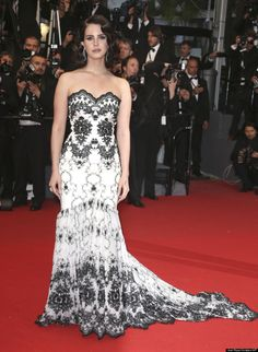 lana del rey wearing a vintage-style embroidered gown by Austrian designer Lena Hoschek at 66th Cannes Film Festival