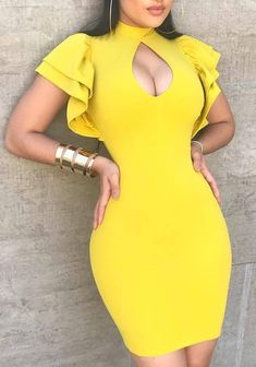 Yellow Ruffle Cut Out Zipper Puff Sleeve Bodycon Clubwear Cute Mini Dress Sexy Dresses, Dress Outfits, Short Dresses, Fashion Dresses, Cute Outfits, Mini Dresses, Ball Dresses, Casual Dresses, Trend Fashion
