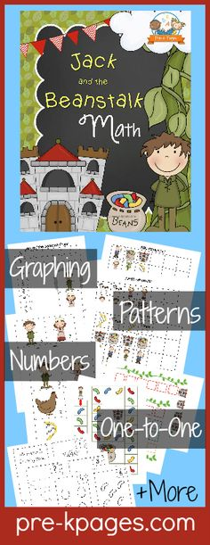 Printable Math Activities for Jack and the Beanstalk Theme in Preschool or Kindergarten