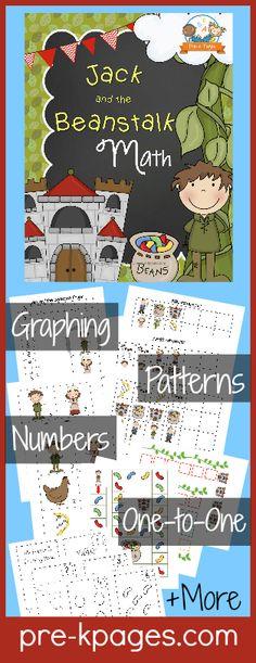 Printable Math Activities for Jack and the Beanstalk Theme in Preschool or Kindergarten