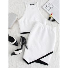 Shop Contrast Binding Hem Textured Top And Overlap Skirt Set online. SheIn offers Contrast Binding Hem Textured Top And Overlap Skirt Set & more to fit your fashionable needs. Look Fashion, Fashion News, Fashion Outfits, Womens Fashion, Skirt Fashion, Fashion Styles, Two Piece Outfit, Clothing Co, Two Pieces