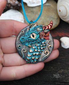 Blue Water Dragon Medallion - dragon pendant - necklace - fantasy - polymer clay jewelry - sea - ocean - ooak - summer jewelry - dragon amulet - wiccan pendant - fimo art - hadmade - polymer clay by GloriosaArt