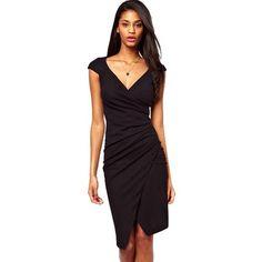 Elegant Charming Knee Length Cap Sleeve Women's Sexy V Neck Bodycon Club Wear Wrap Pencil Dress Casual Sheath Black Dresses