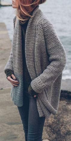 #fall #outfits / gray knit