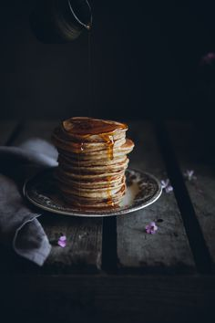 Spelt sourdough pancakes with brown butter