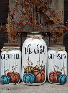 Grateful Thankful Blessed Mason Jars painted a chalky Almond Color as well as your chalky color of choice pumpkins 🎃🧡 Filled with Bittersweet Mason Jar Art, Mason Jar Gifts, Wine Bottle Crafts, Jar Crafts, Mason Jar Projects, Painted Mason Jars, Thanksgiving Crafts, Christmas Crafts, Blessed