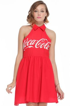 We think Coca-Cola is going to be really hot this year. //// ROMWE | CocaCola Print Red Dress, The Latest Street Fashion