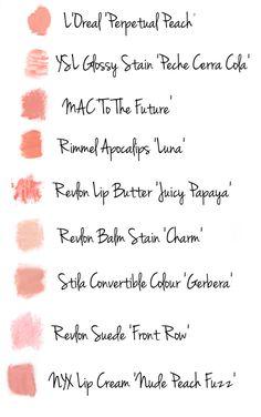 Peach Lipstick swatches