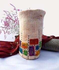 Items similar to Mondrian Inspired Felt Vase on Etsy Wet Felting Projects, Felt Projects, Textiles, Wool Felt, Felted Wool, Freehand Machine Embroidery, Vases, Sewing Notions, Felt Art