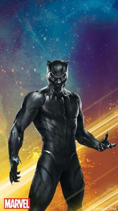 An image of Black Panther with a colorful background. The red Marvel logo is on the bottom left corner. An image of Black Panther with a colorful background. The red Marvel logo is on the bottom left corner. Marvel Avengers, Marvel Logo, Marvel Comics, Marvel Heroes, Marvel Characters, Black Panther Marvel, Black Panther King, Black Pantera, Marvel Phone Wallpaper