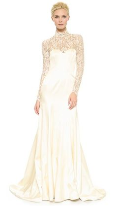 Victorian Inspired Lace Wedding gown -Temperley London Long Grace Bridal Dress - Ivory $4,795.00 AT vintagedancer.com