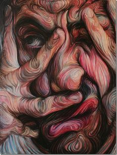 Liquid Friends Portraits made  with Swirling Lines and Vibrant Colour by Nikos Gyftakis