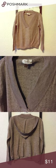 Sonoma Knitted Hoodie Tan knit hoodie with Vneck collar and slits on the side. Sonoma Tops Sweatshirts & Hoodies