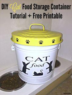 DIY Cat Food Storage Container Tutorial + Free Printable.