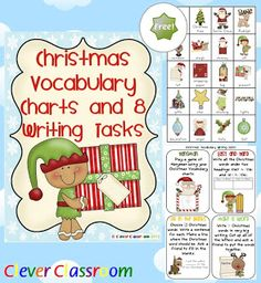 All Free Teacher Resources - Christmas Vocabulary Charts and 8 Writing Tasks