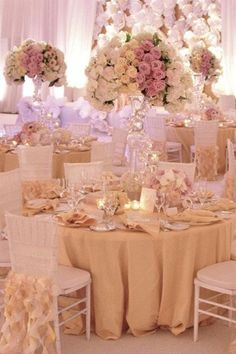 For a soft and pretty look like this one, ask your florist to arrange flowers in clusters by color.Photo Credit: Details Details