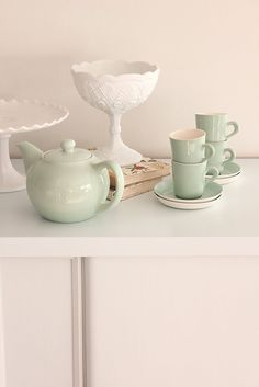 love the milk glass with the jade.
