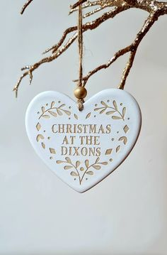 Handmade clay heart handpainted in choice of colour. Celebrate christmas together Family Christmas, Christmas Ornaments, Personalised Christmas Decorations, Holiday Decor, Dog Tag Necklace, Heart Tree, Clay, Hand Painted, Jute Twine
