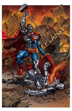 #Superman #Fan #Art. (Cyborg Superman Vs Steel) By: Arswend. (THE * 5 * STÅR * ÅWARD * OF: * AW YEAH, IT'S MAJOR ÅWESOMENESS!!!™)[THANK U 4 PINNING!!!<·><]<©>ÅÅÅ+(OB4E)(IT'S HAMMER TIME!!!)