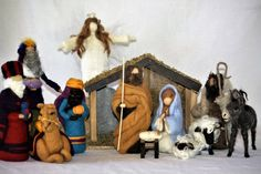 Waldorf Inspired Needle Felted Nativity Full 14 piece Set including Stable and manger! The Holy Family! One of a kind needle felted wool Nativity Set with Mary, Joseph and baby Jesus, Shepard and two sheep, Three kings/wise men and camel, donkey, angel, manger and stable.