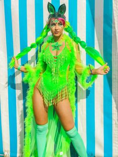 Neon sequin Space alien Goddess in the Easy tiger Outta Space Neon Green Shimmy Shimmy Bodysuit. Would make a Sick EDC look ! Neon Rave Outfits, Rave Festival Outfits, Edm Outfits, Edm Festival, Crazy Outfits, Festival Fashion, Festival Looks, Sparkle Outfit, Shimmy Shimmy