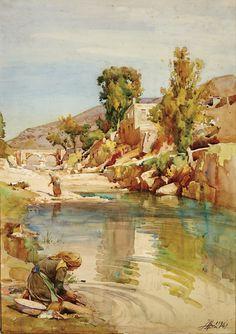 João Alves de Sá (1878-1972) - As Lavadeiras- Aguarela