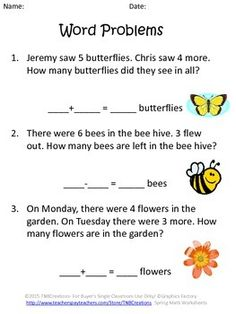 Spring Math: Practice math and have fun with these printable spring math worksheets! Perfect for K-2 students. These worksheets practice basic ten facts, addition and subtraction, skip counting, word problems, and number ordering.  In this product you will receive the following printable math worksheets:   3 Addition and Subtraction Word Problems Worksheets An Addition Facts Worksheet A Subtraction Facts Worksheet A Ways to Make 10 Worksheet A Skip Counting Worksheet A Least to Greatest…