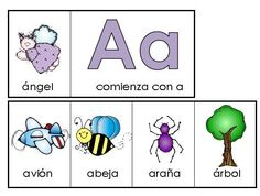 Spanish alphabet mini books. Color and black and white versions included.