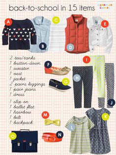 back-to-school wardrobe capsule for the little one.  love this idea - only 15 pieces!  could be modified for school uniform?