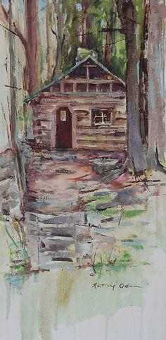 Kid's Cabin (Elkmont) by Kathie Odom Oil on Linen ~ 20 x 10