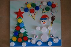 Festive Crafts, Christmas Crafts For Kids, Homemade Christmas, Kids Crafts, Diy And Crafts, Christmas Ornaments, Bottle Cap Projects, Bottle Cap Crafts, Plastic Bottle Art