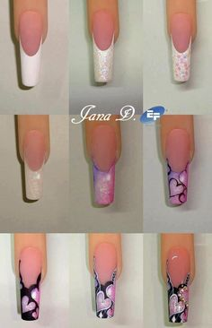 By Jana D: romantic french nail art for S. Fancy Nails, Diy Nails, Cute Nails, Nails Ideias, Valentine Nail Art, Gel Nagel Design, Heart Nails, French Tip Nails, Artificial Nails